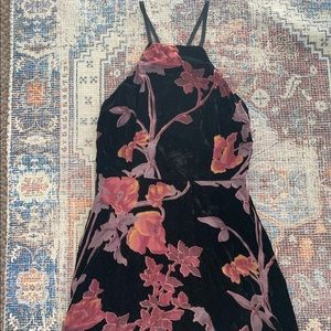 Floral Velvet Baby Doll Dress